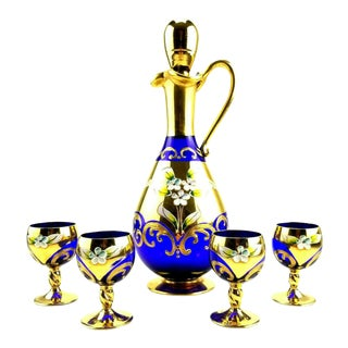 Bohemian Cobalt Blue and Gold Decanter & Cordial Glass Set For Sale