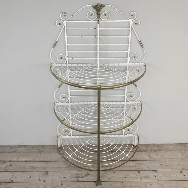 French 19th Century French Wrought Iron Demilune Baker's Rack For Sale - Image 3 of 12