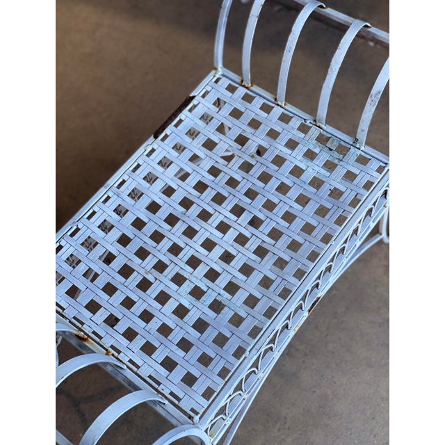 Vintage Victorian White Wrought Iron Sculpted Patio Garden Bench For Sale - Image 4 of 12