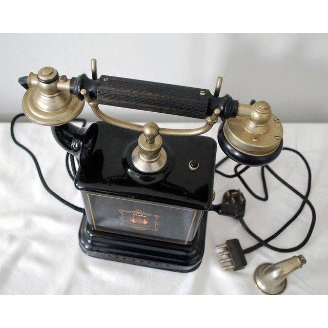 Bakelite Early 20th Century Antique Danish Hand Crank Telephone For Sale - Image 7 of 11