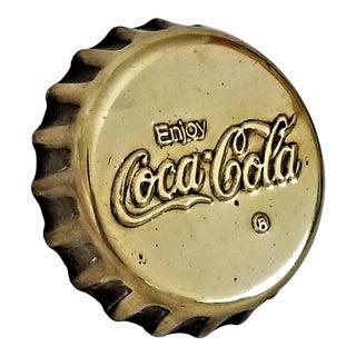 1960s Pop Art Coke Coca-Cola Brass Paperweight - Mid Century Modern Coke Sculpture For Sale