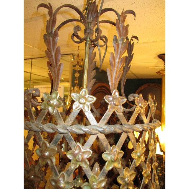 French Provincial Tole Lantern in Cylinder Style For Sale - Image 3 of 7