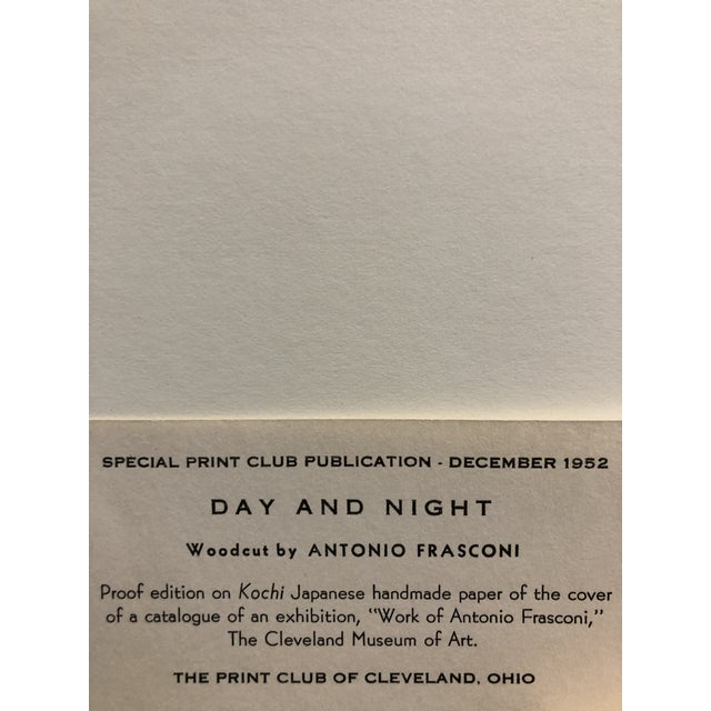 """Antonio Frasconi """"Day and Night"""" 1952 Woodcut on Japanese handmade paper Cover of exhibition catalogue for The Cleveland..."""