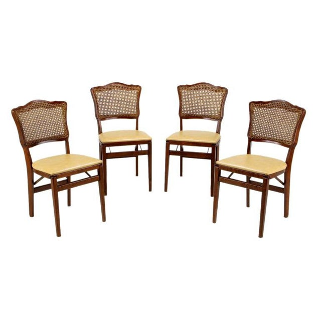 Set of Four Mahogany, Cane & Leather Regency Folding Chairs For Sale - Image 11 of 11