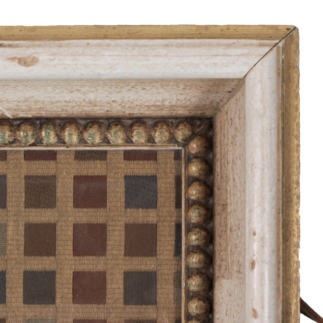 Vintage Italian Serving Tray With Leather Handles & Woven Silk Under Glass For Sale - Image 4 of 7