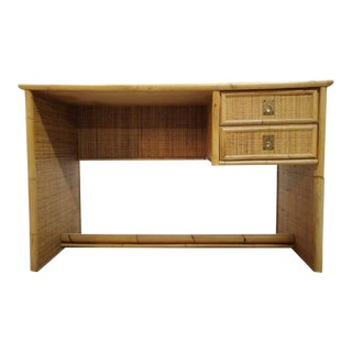 Vintage Italian Mid-Century Modern Small Rattan Bamboo Desk W 2 Drawers For Sale