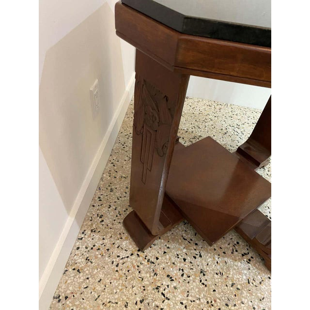 American Art Deco Side Table With Polished Black Granite Top 1930s For Sale In West Palm - Image 6 of 11