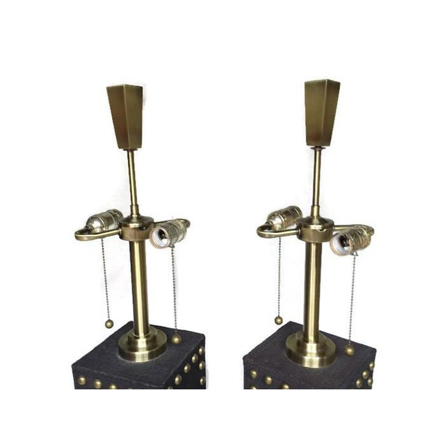Modern Glam Studded Black & Brass Lamps - Pair - Image 3 of 10