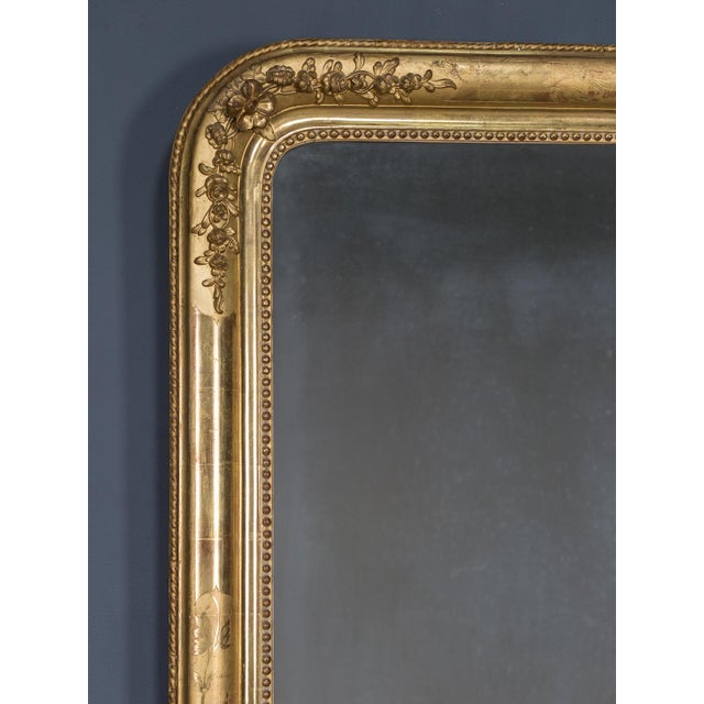 French Antique French Louis Philippe Gold Leaf Mirror circa 1870 For Sale - Image 3 of 10