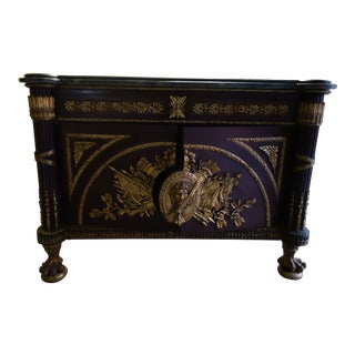 French Empire Style Wood & Marble Top Credenza For Sale