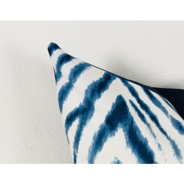 Bauhaus Large Flame Stitch White & Blue Pillows – a Pair For Sale - Image 3 of 8
