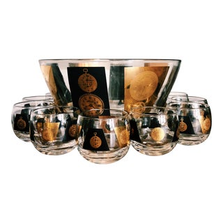 Vintage Hollywood Regency Gold & Black Glass Punch Bowl & Glasses For Sale