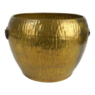 Asian Hammered Brass Jardiniere For Sale
