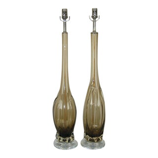 Vintage Murano Glass Table Lamps Bronze For Sale