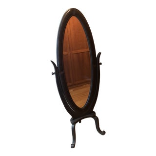 Faux Leather Oval Cheval Framed Full Length Mirror For Sale
