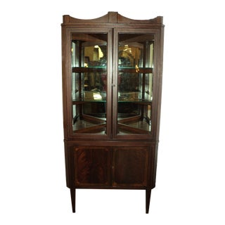 1930s Vintage Mahogany Corner Cabinet with String Inlay For Sale