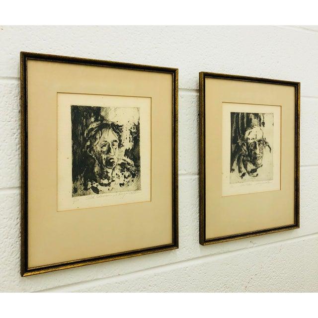 Original Vintage Block Prints in Frame - A Pair For Sale - Image 9 of 9
