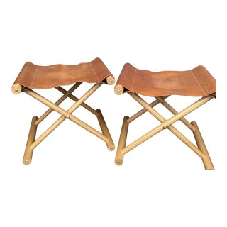 Campaign Style Wood and Leather Ottomans - a Pair