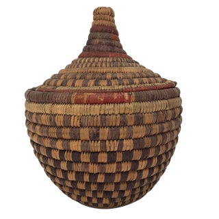 20th Century African Handwoven Lidded Basket For Sale