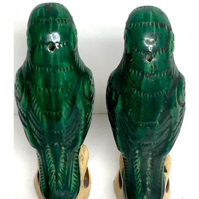 19th Century Pair of Chinese Export Porcelain Green Glazed Parrots For Sale - Image 5 of 12