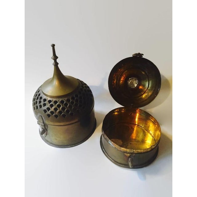 Boho Chic Vintage Brass Cricket Boxes Buddhist Stupa Storage Boxes - a Pair For Sale - Image 3 of 10