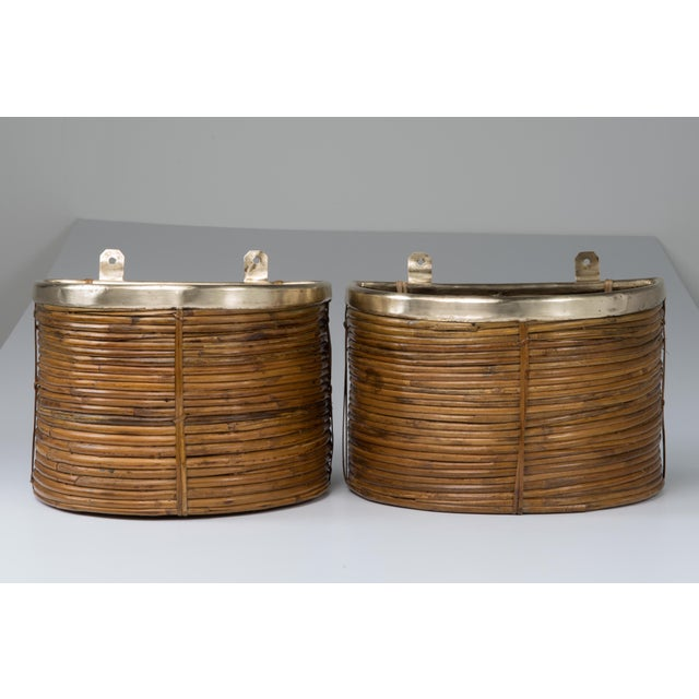 1970s Mid Century Handmade Pencil Reed Cane Brass Hanging Planters For Sale - Image 13 of 13