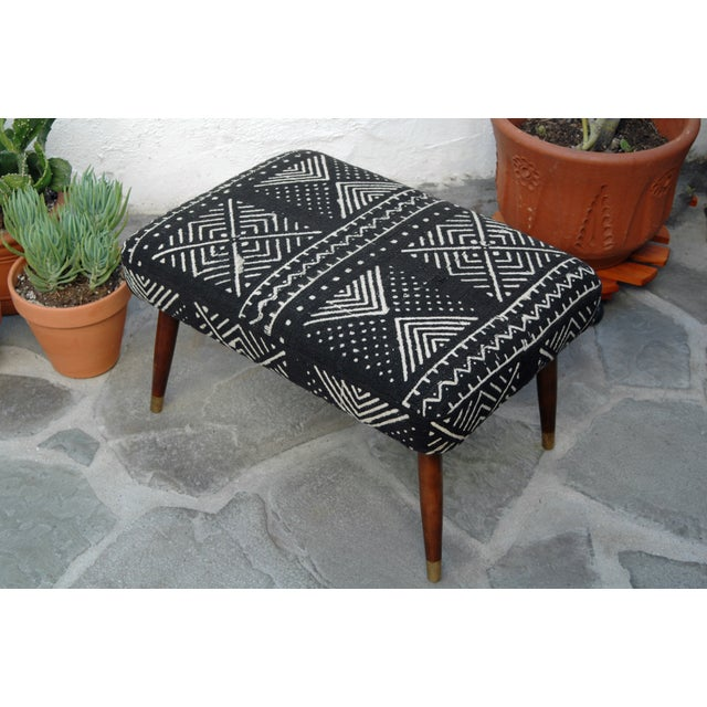 Mid-Century Footstool With African Mudcloth - Image 3 of 7
