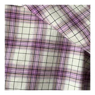 "Vintage French Purple Plaid Fabric - 44x57"" For Sale"