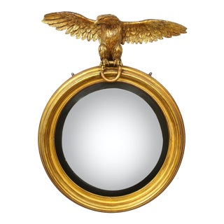 Early 19th Century Regency Giltwood Convex Mirror For Sale