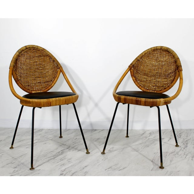 Danny Ho Fong 1960s Mid-Century Modern Danny Fong Rattan and Iron Patio Dining Set - 3 Pieces For Sale - Image 4 of 10