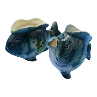Vintage Ceramic Fish Planters- Set of 2
