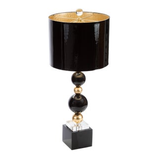 Art Deco Sheridan Couture Black and Gold Table Lamp