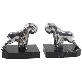 French Art Deco Chrome and Marble Ram Figural Bookends For Sale