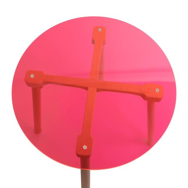 """Contemporary Ac/Bc Large Round 30"""" Kids Table in Maple With Pink Finish Acrylic Top For Sale - Image 3 of 5"""