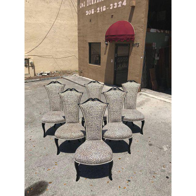 White French Mid-Century Modern Ebonized Tall Back Dining Chairs - Set of 6 For Sale - Image 8 of 13