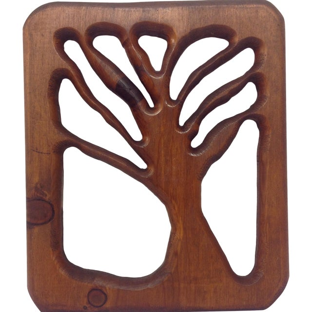 Pierced Wood Tree Relief Panel For Sale