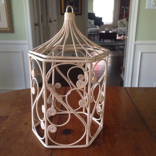 Vintage Rattan Wicker Birdcage - Image 3 of 11