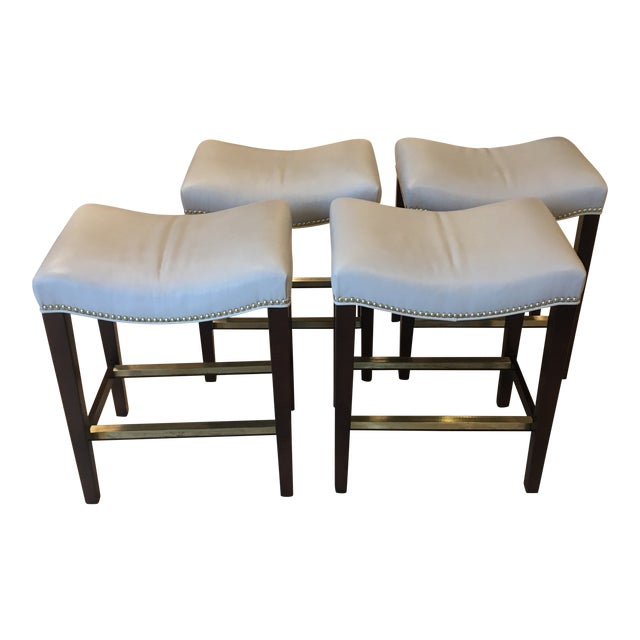 Hickory Chair Madigan Taupe Leather Backless Counter Stools - Set of 4 For Sale