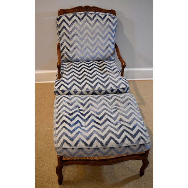 Blue Fremarc Design Robert Allen Modern Oversized Contemporary French Bergere Upholstered Club Lounge Chair& Ottoman in Blue / Grey Geometric Zebra Pattern For Sale - Image 8 of 12