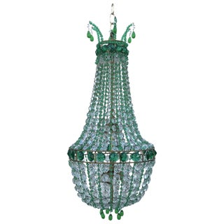 20th Century French Empire Style Emerald and Clear Crystal Chandelier For Sale