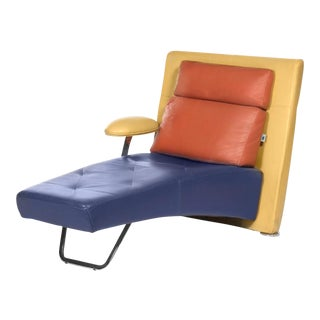 Gamma Arredamenti Postmodern Primary Color Block Leather Chaise Longue