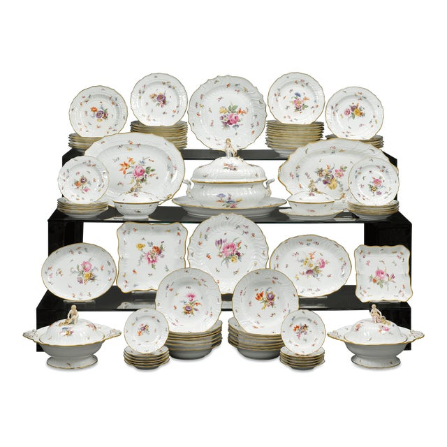 This resplendent 92-piece Meissen porcelain dinner service for twelve is an exceptional example of the firm's domestic...