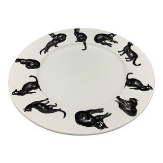 Italian Faience Black Cat Platter For Sale