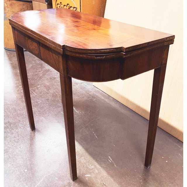 George III Mahogany and Inlaid Fold-Top Console Table For Sale - Image 10 of 13
