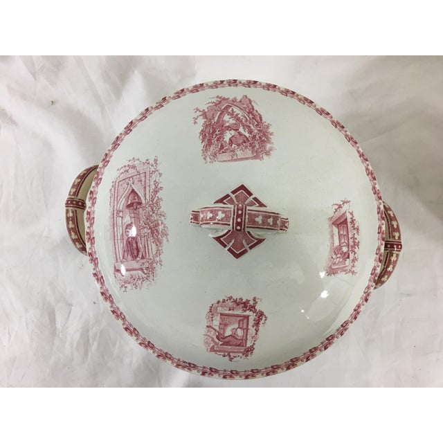 Red and White Digoin & Sarreguemines Faience Dinner Set - Set of 26 For Sale - Image 9 of 13