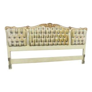 John Widdicomb Cream Gilt Upholstered King Headboard For Sale