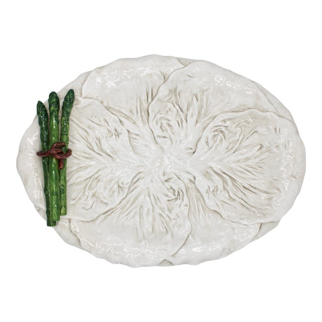 Mid Century Italian Ceramic White Cabbage Leaf and Asparagus Platter For Sale