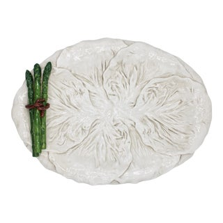 Mid Century Italian White Cabbage Leaf and Asparagus Platter For Sale