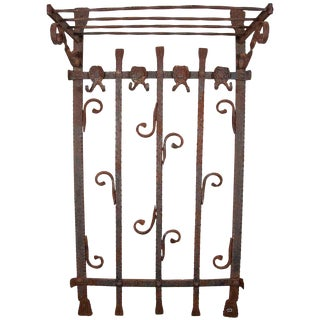 French Heavy Wrought Iron Wall Rack For Sale