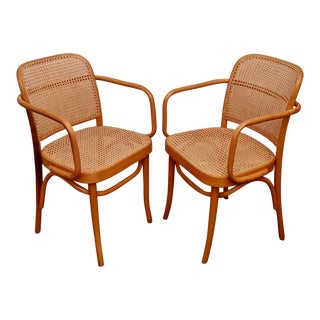 "Josef Hoffmann Bentwood & Cane ""Prague"" Thonet 811 Armchairs, a Pair For Sale"